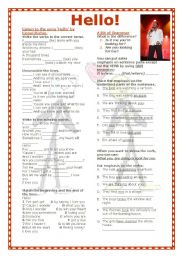 English Worksheets: Grammar Through Songs: Hello!