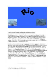 English Worksheets: Reading Comprehension with Rio(aug.6th,08)