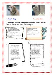 English Worksheets: The dog�s and  the cat�s diary