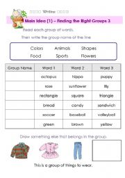 English Worksheet: Main Idea - Finding the Right Group