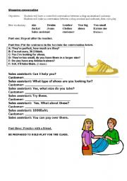 English Worksheet: Customer, assistant conversation for shopping.
