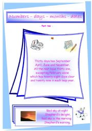 English Worksheet: Numbers, days, months and dates - Part Two -