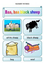 English Worksheet: Nursery rhymes - BAA, BAA, BLACK SHEEP  - 3 pages
