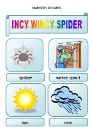 English Worksheet: Nursery rhymes - INCY WINCY SPIDER - 2 pages