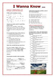 English Worksheets: Grammar Through Songs: I Wanna Know