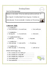 reading comprehension test for grade 3 - ESL worksheet by ...