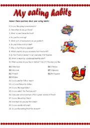 English Worksheet: My eating habits