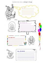 English Worksheets: Funny Clowns!2