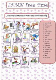 English Worksheets: JAM family and their hobbies 08.08.08