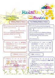 English Worksheet: Defining Relative Clause vs. Non-defining Relative Clause
