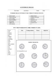 English Worksheets: Activities_of_the_day