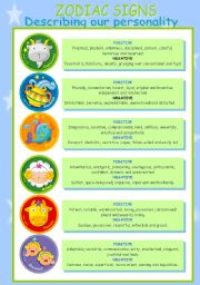 English Worksheets: Zodiac Signs (Personality Positive and Negative aspects)