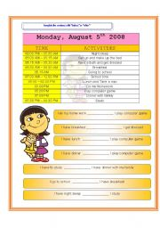 English Worksheets: My daily schedule