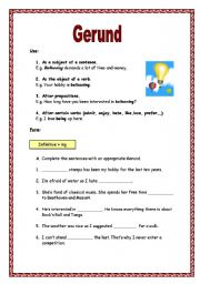 English teaching worksheets: Gerunds and infinitives