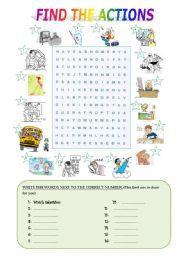 English Worksheets: FIND THE ACTIONS