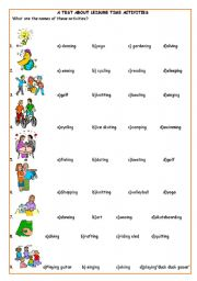 English Worksheet: A test about leisure time activities