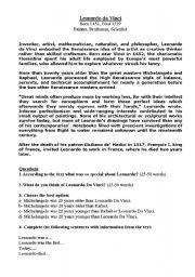 english worksheets leonardo davinci comprehension worksheet. Black Bedroom Furniture Sets. Home Design Ideas