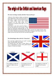 English Worksheet: The origin of British and American flags