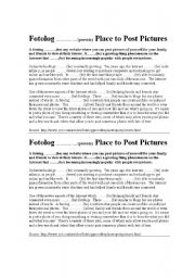 English Worksheets: Complete the article about fotologs