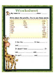 English Worksheets: write about giraffe