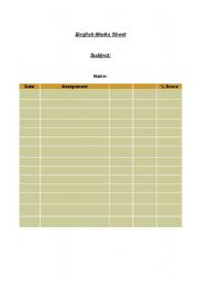 English Worksheets: marks sheet