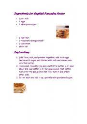 English Worksheet: recipe pancakes