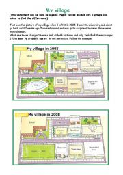 English Worksheet: My village in the past and  now