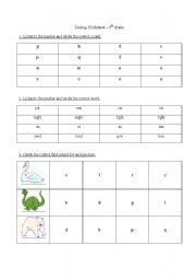 English Worksheets: Testing phonic awareness