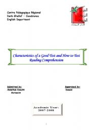 English Worksheets: Chracteristics of a Good Test and How to Test Reading Comprehension