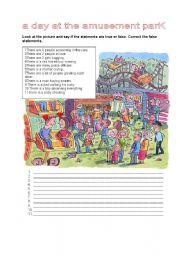 English Worksheet: A DAY AT THE AMUSEMENT PARK