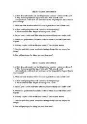 English Worksheets: Credit card questions