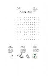 English Worksheets: Jobs Wordsearch