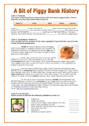 English Worksheets: A Bit of PiggyBank History