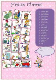 English Worksheets: house chores 11.08.08