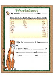 English Worksheets: write about the tiger