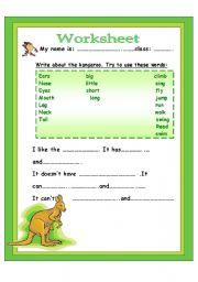English Worksheets: write about kangaroo