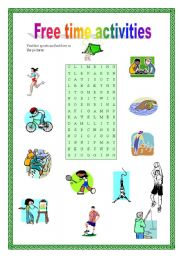 English Worksheets: Free time activities - wordsearch