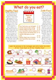 English Worksheet: Junk food- Healthy food