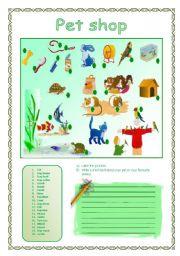 English Worksheets: PET SHOP(11.08.08)