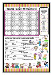 English Worksheet: PRESENT PERFECT WORDSEARCH