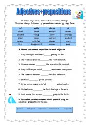 English Worksheet: Adjectives+prepositions (exercises)