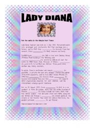 English Worksheets: Biography of Lady Di (Diana Spencer) (write)