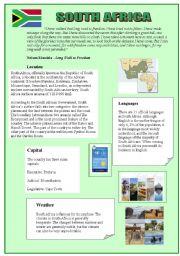 English Worksheet: SOUTH AFRICA ( 10/08/08)