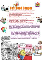 English Worksheet: Fast Food Danger