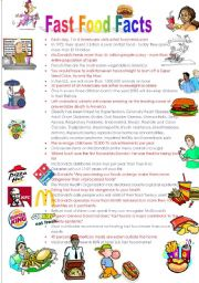 English Worksheet: Fast Food Facts