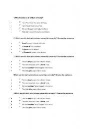 English Worksheets: Choose the correct sentence