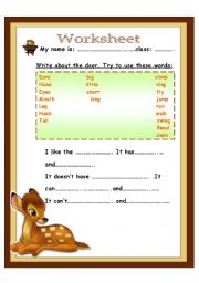 English Worksheets: write about the deer