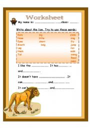 English Worksheets: write about the lion