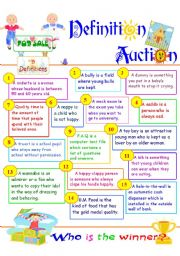 English Worksheet: Definition Auction_a classroom game to practice defining relative clauses (11.08.08)