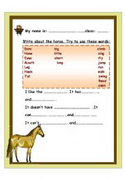 English Worksheets: write a small paragraph about the horse